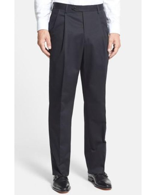 Berle | Black Pleated Cotton Trousers for Men | Lyst