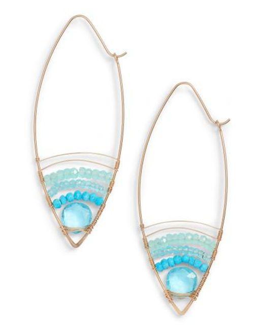 Nashelle | Blue Cabana Golden Sand Oblong Hoop Earrings | Lyst