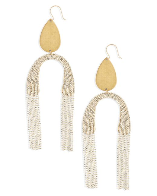 Serefina - White Fringe Drop Earrings - Lyst