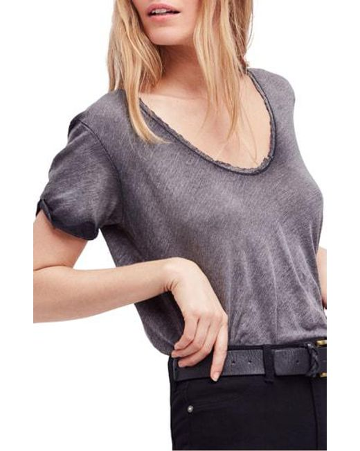 Free People - Black We The Free By Saturday Lace Trim Linen Blend Tee - Lyst
