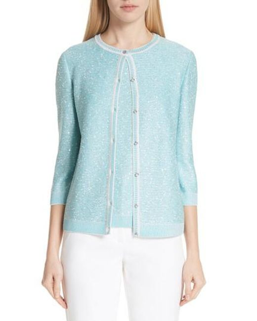 St. John - Blue Flecked Sparkle Knit Cardigan - Lyst
