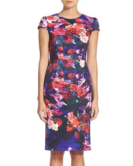 Betsey Johnson | Multicolor Print Stretch Midi Dress | Lyst