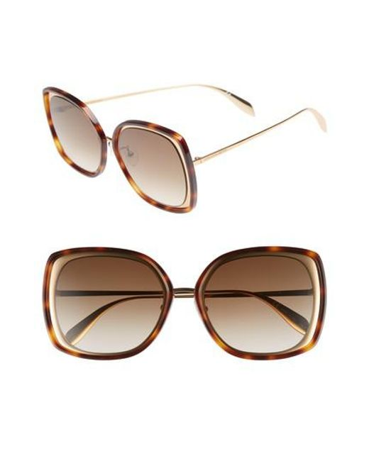 Alexander McQueen - Metallic 57mm Square Sunglasses - Lyst
