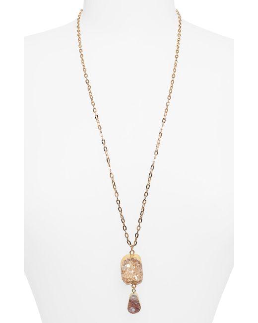 Panacea - Metallic Drusy Double Stone Pendant Necklace - Lyst