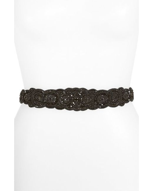 Glint | Black 'arabesque' Beaded Stretch Belt | Lyst
