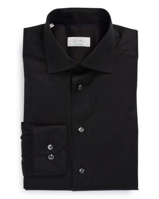 Eton of Sweden | Black Contemporary Fit Solid Dress Shirt for Men | Lyst