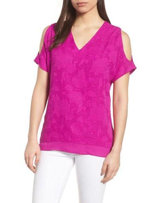 Chaus - Pink Floral Jacquard Cold Shoulder Top - Lyst