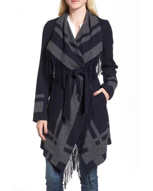 Vince Camuto | Blue Wrap Coat | Lyst