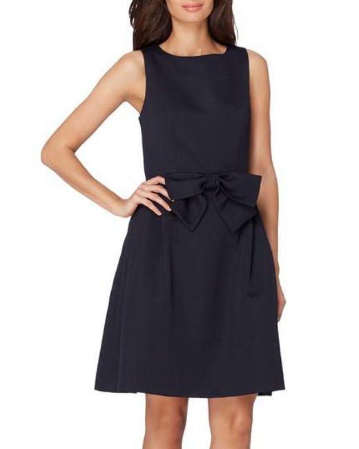 Tahari - Blue Bow Fit & Flare Dress - Lyst