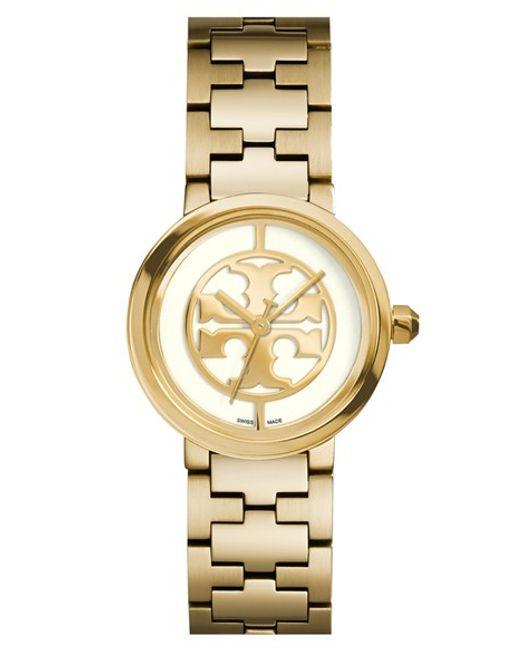 Tory Burch | Metallic Women's Swiss Reva Gold-tone Stainless Steel Bracelet Watch 28mm Trb4011 | Lyst