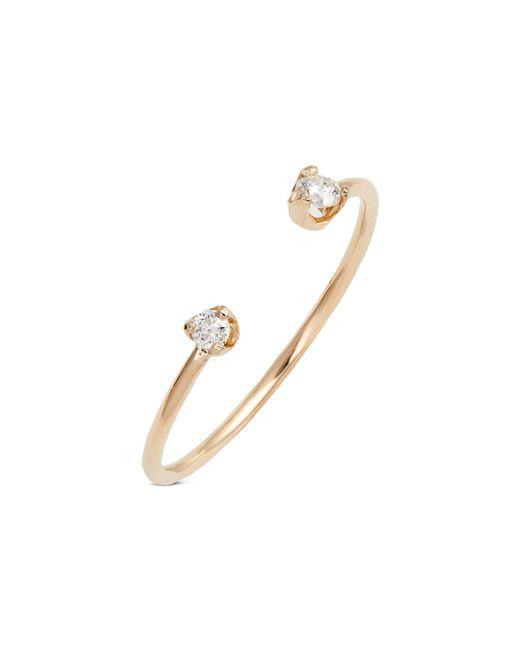Zoe Chicco - Metallic Diamond Open Ring - Lyst