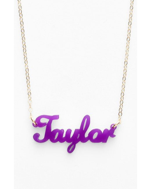 Moon & Lola - Purple 'script Font' Personalized Nameplate Pendant Necklace - Lyst