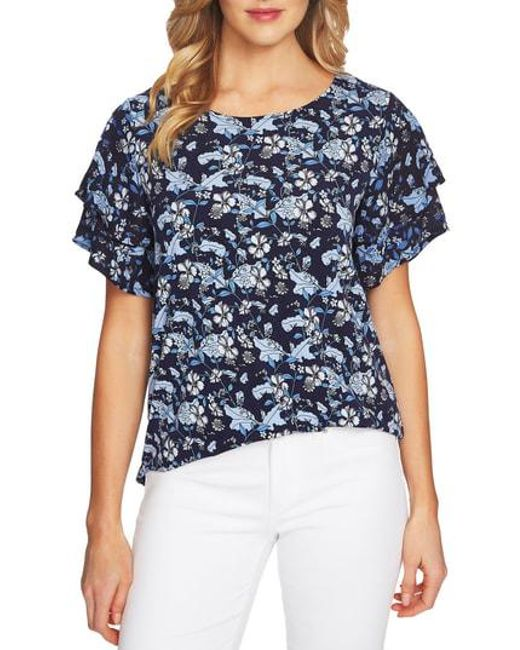 67b964b66656ca Lyst - Cece Tiered Sleeve Floral Top in Blue