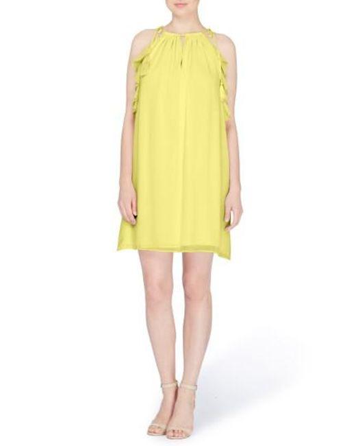 Catherine Malandrino | Yellow Natalie Tie Shoulder Shift Dress | Lyst