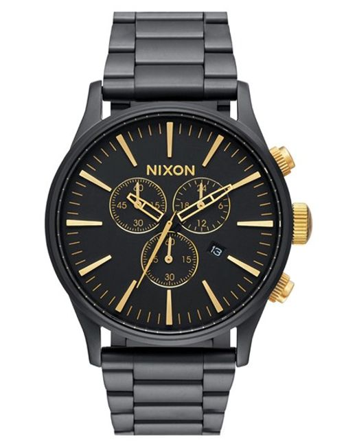 Nixon | Black 'the Sentry' Chronograph Bracelet Watch for Men | Lyst