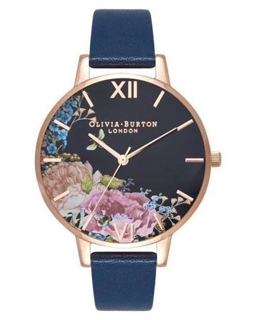 Olivia Burton - Multicolor Enchanted Garden Leather Strap Watch - Lyst