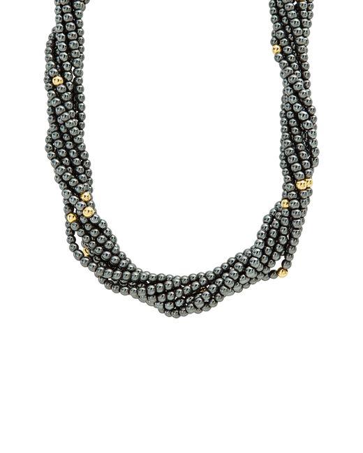 Lagos - Metallic Caviar Icon Hematite Necklace - Lyst