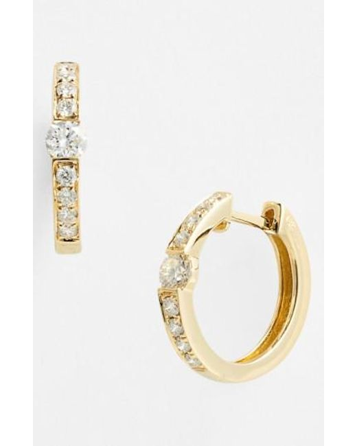 Bony Levy | Metallic 'linea' Small Diamond Hoop Earrings (nordstrom Exclusive) | Lyst