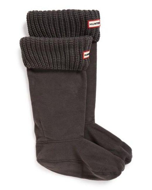 Hunter   White Tall Cardigan Knit Cuff Welly Boot Socks   Lyst