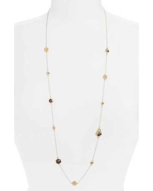 Anna Beck | Metallic Grey Sapphire & Pyrite Long Station Necklace | Lyst