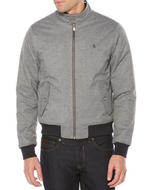 Original Penguin | Gray P55 Heathered Harrington Jacket for Men | Lyst