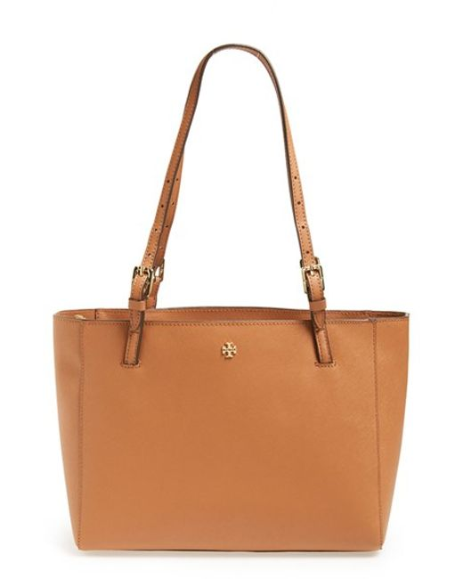 Tory Burch | Brown 'small York' Saffiano Leather Buckle Tote | Lyst