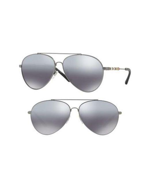 Burberry - Gray Heritage Check 60mm Polarized Metal Aviator Sunglasses - Lyst