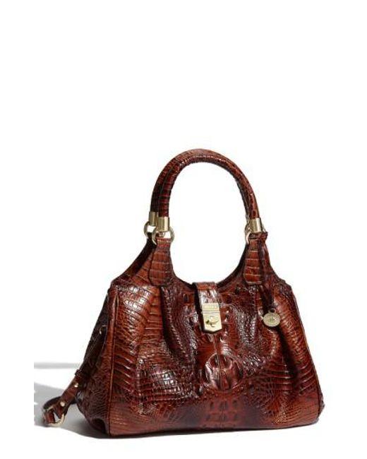 Brahmin | Brown 'elisa' Croc Embossed Leather Shoulder Bag | Lyst