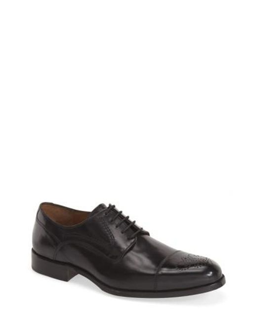 Johnston & Murphy | Black 'stratton' Cap Toe Derby for Men | Lyst