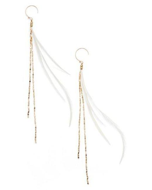 Serefina | Metallic Glistening Feather Duster Earrings | Lyst