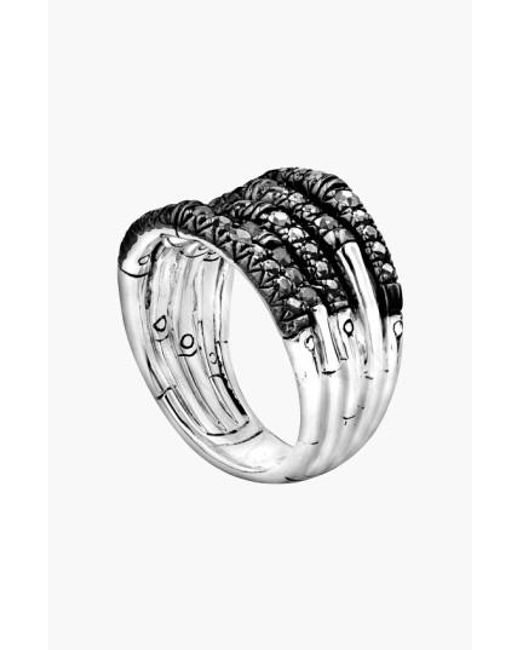 John Hardy | Metallic 'bamboo - Lava' Wide Pave Sapphire Stack Ring | Lyst
