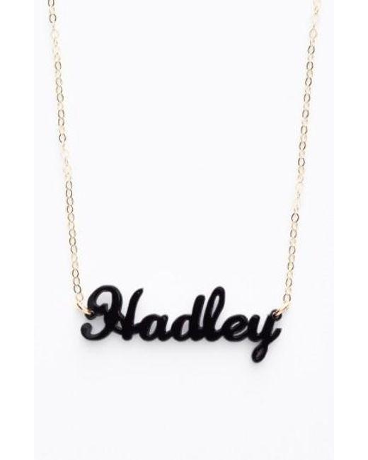Moon & Lola | Black 'script Font' Personalized Nameplate Pendant Necklace | Lyst