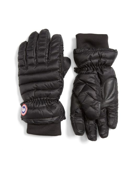 Canada Goose - Black Lightweight Quilted Down Gloves - Lyst