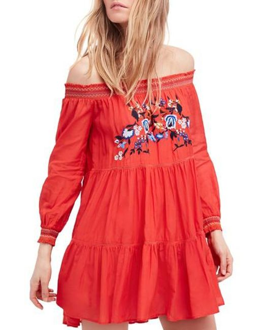 Free People - Red Sunbeams Minidress - Lyst