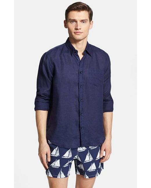 Vilebrequin | Blue 'caroubier' Linen Shirt for Men | Lyst