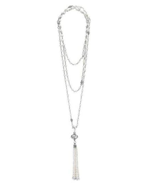 Lagos | Metallic 'luna' Pearl Tassel Necklace | Lyst