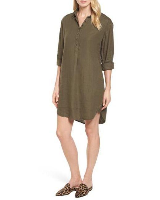 Caslon - Green Caslon Linen Shirt Dress - Lyst