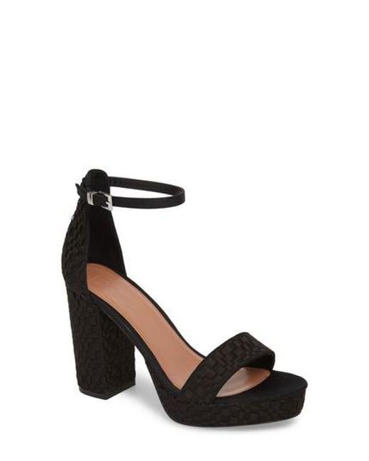 TOPSHOP - Black Sloane Woven Platform Sandal - Lyst