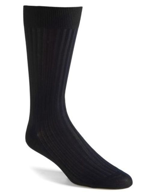 Pantherella - Blue Cotton Blend Mid Calf Dress Socks for Men - Lyst
