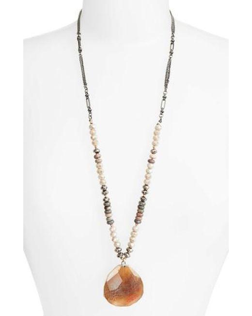 Nakamol - Metallic Long Agate Pendant Necklace - Lyst