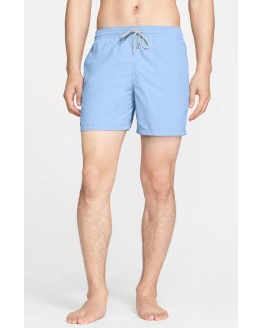 Vilebrequin | Blue 'moorea' Solid Swim Trunks for Men | Lyst