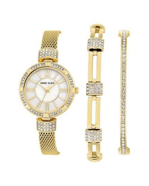 Anne Klein   Metallic Watch & Bangle Set   Lyst