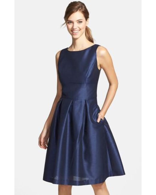 Alfred Sung | Blue Dupioni Fit & Flare Dress | Lyst