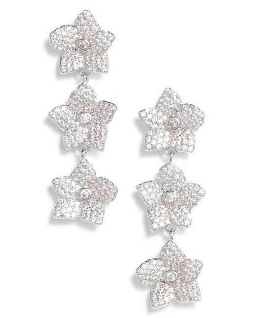 Kate Spade - Metallic Blooming Pave Linear Earrings - Lyst