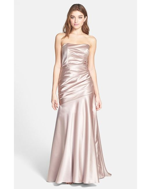 Dessy Collection | Pink Ruched Satin Strapless Gown | Lyst