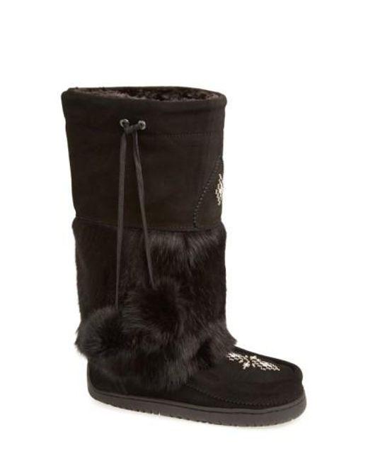 Manitobah Mukluks   Black 'snowy Owl' Genuine Fur & Suede Mukluk   Lyst