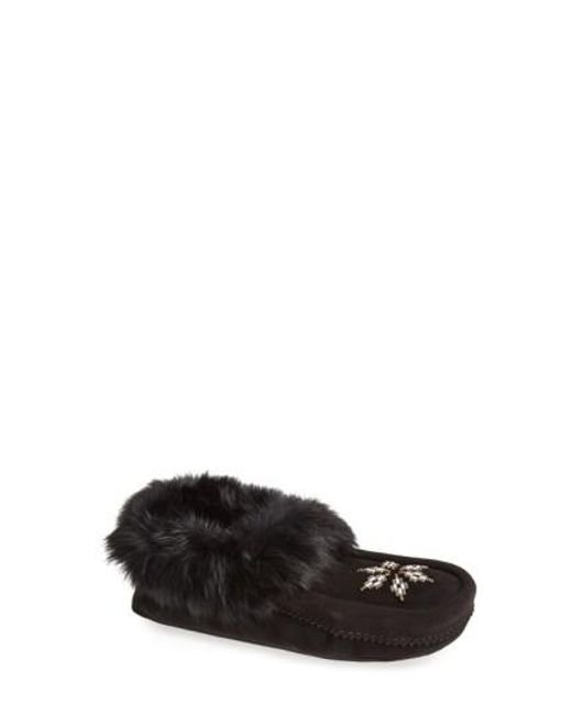 Manitobah Mukluks | Black 'kanada' Genuine Rabbit Fur & Suede Moccasin Slipper | Lyst