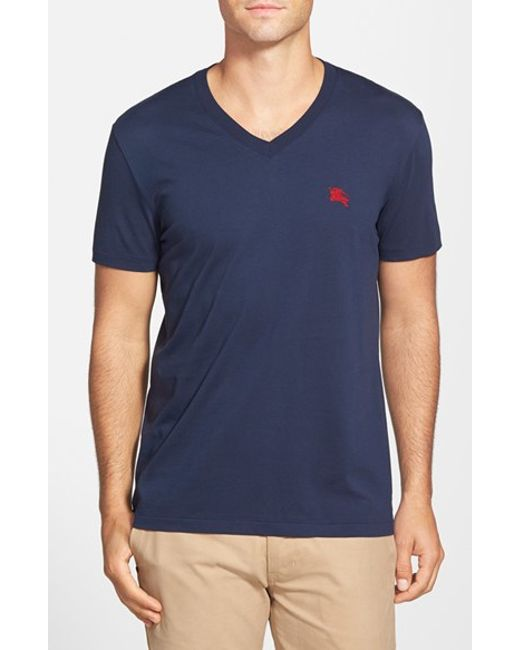 Burberry | Blue Lindon V-Neck Cotton T-Shirt for Men | Lyst