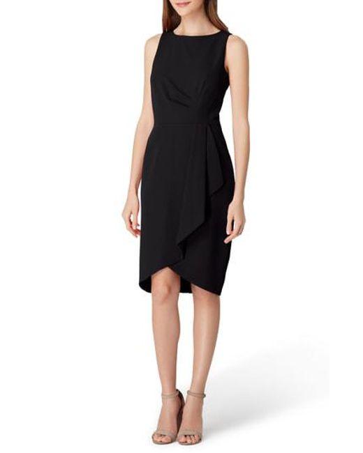 a6bdbdcd Lyst - Tahari Ruched Side Crepe Sheath Dress in Black