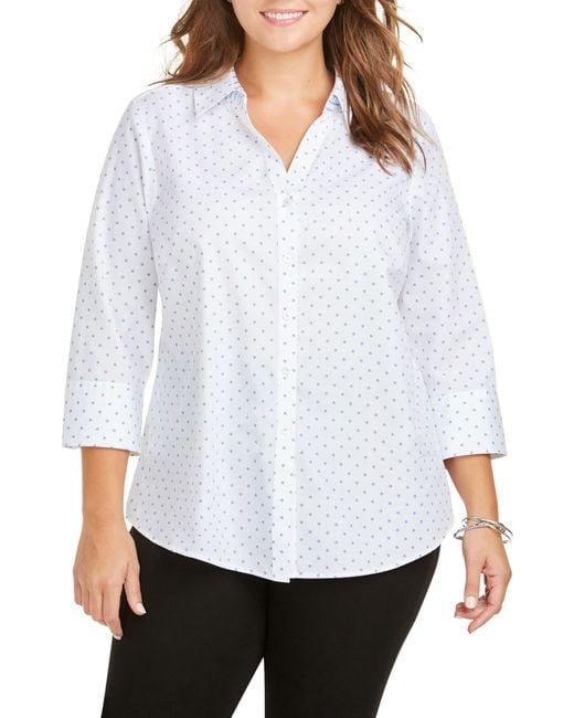 Foxcroft White Mary Star Dot Shirt